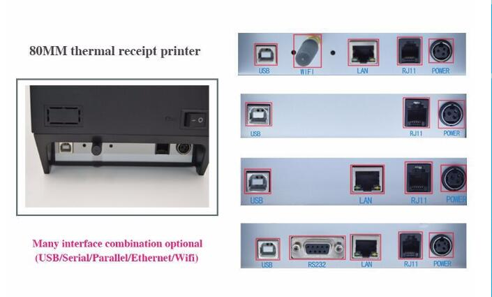 80mm Thermal Receipt Printer High speed Auto Cutter USB interface Pos Printer