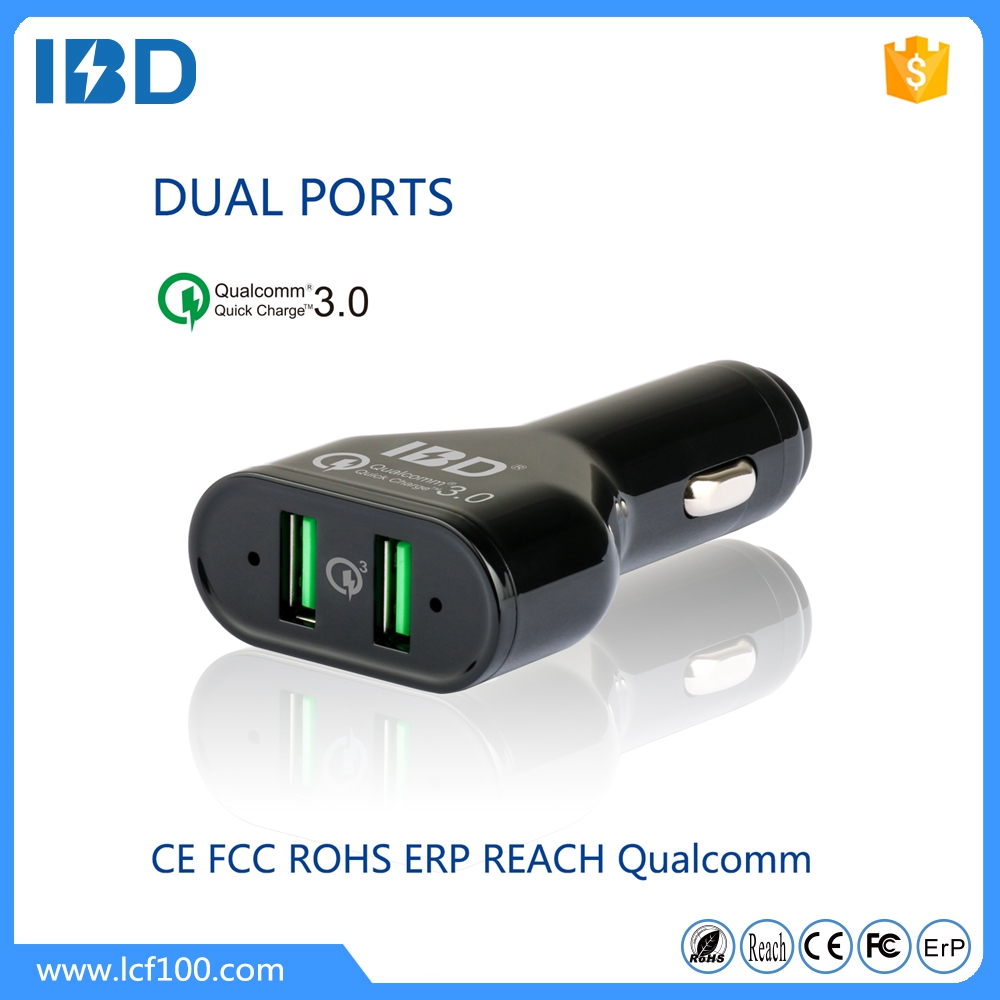 OEM&ODM Service ,High output 36W/6A dual usb qc3.0 car charger with CE FCC RoHS Qualcomm certificates