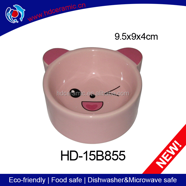 cat face design pink ceramic pet cat feeds trough customized