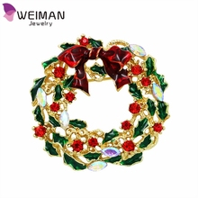New Fashion Design Red Enamel Bow Tie Crystal Christmas Brooch Pins Colorful Christmas Wreath Brooches