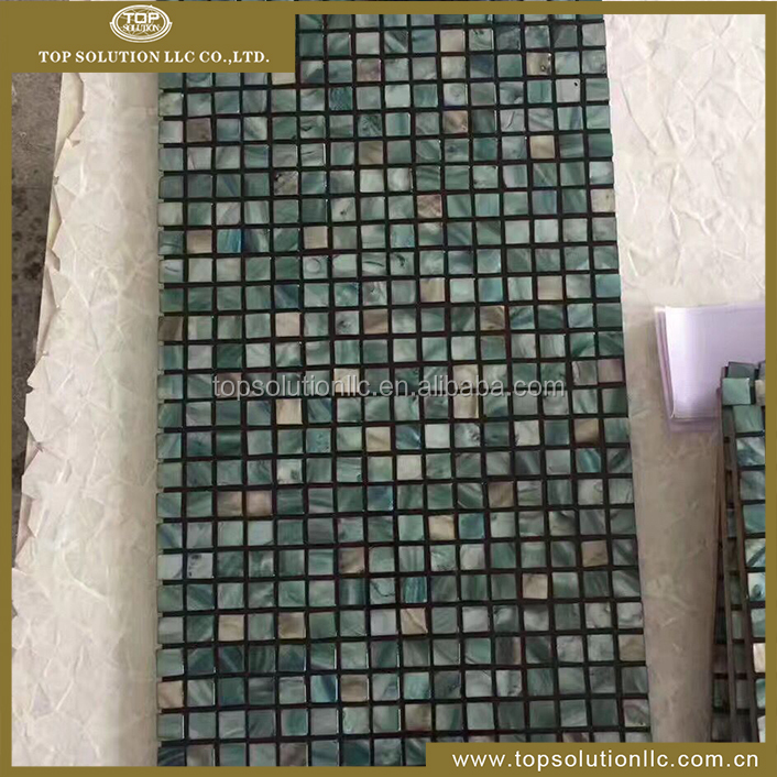 2017 new design dyed green China freshwater mother of peal river shell mosaic wall tile, ming green marble mosaic tile
