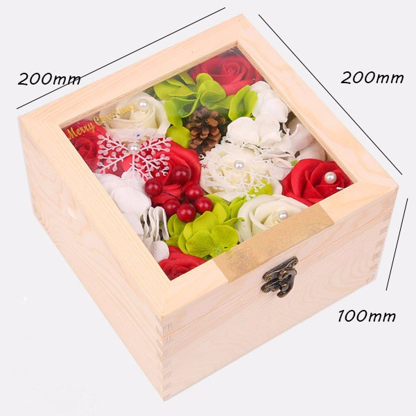 Square Wood Acrylic Flower Gift Box For Flowers,Flower Chocolate Gift Box,Flower Chocolate Box