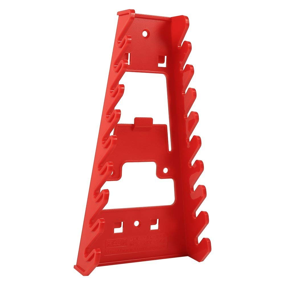 Wrenches Rack Organizer Holder, 9 Slot Red Plastic Wrench Rack Standard Organizer Holder Storage Tool Wrenches Keeper
