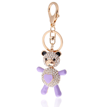 18K Gold Plated Crystal cute Bear zinc alloy Keychain for gift