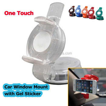 2015 New Design One touch button Double Use Universal Mobile Phone Car Window Suction Mount Dashboard Gel Sticker Stand Holder