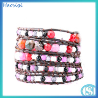 wholesale 2016 popular pink faceted jade wrap bead bracelet