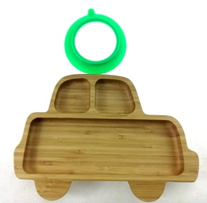 Baby Car-shape bamboo wooden dinner suction plate