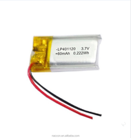 3.7v li-polymer battery 401120 50mah lipo rechargeable high capacity cell