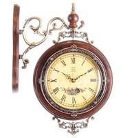 Antique wooden vintage wall clock machine