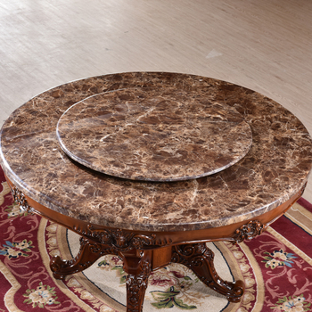 Exquisite Carving Wood Frame Round Marble Tops Dining Table With