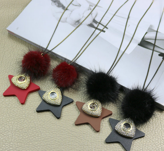 Korean style autumn and winter new PU five - pointed star mink wool long ball necklace women 's sweaters clothing apparel access