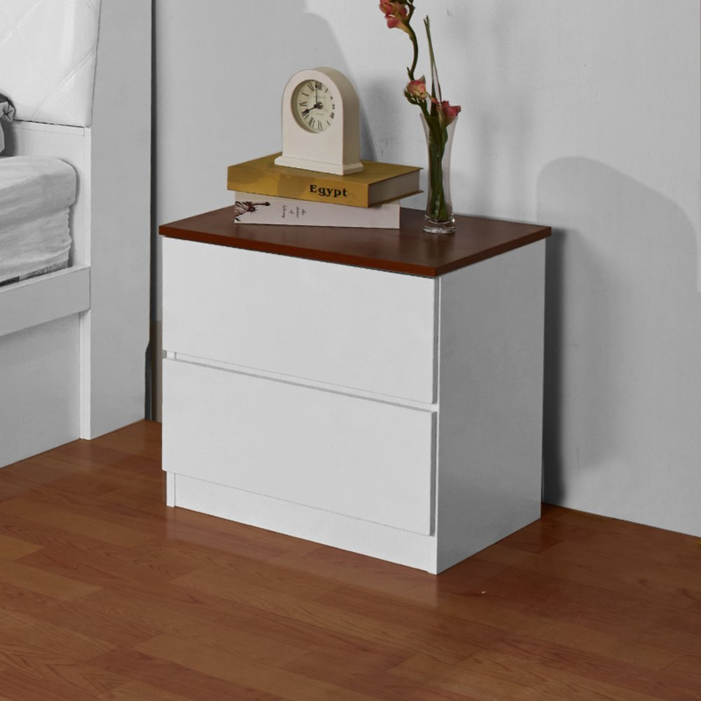 Simple modern bedside cabinet Bedside table Double drawers anti-Moisture bedside table Bedroom anti-Fading nightstand Bedside table Easy to assemble the bedside table-A 50x40x45cm(20x16x18inch)