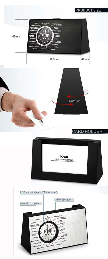 personalised Luxury Business card holder desk clock for employee gifts/spinning world time desk award clock for government