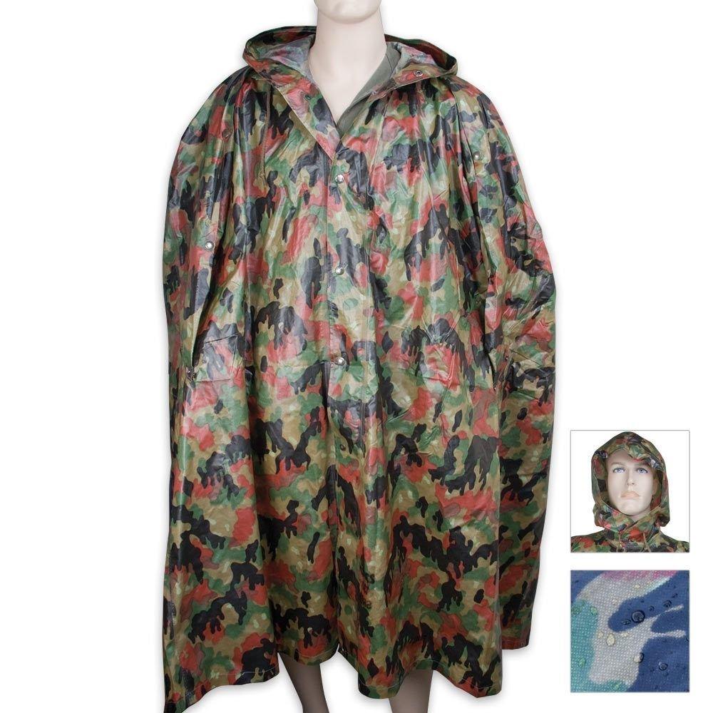 Military Surplus Swiss Alpenflage Camo Wet Weather Gear Poncho