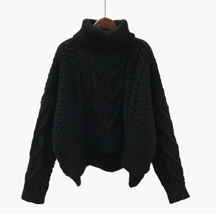 High Quality Womens Double Knitting Vintage Cable Turtleneck Chunky Sweater