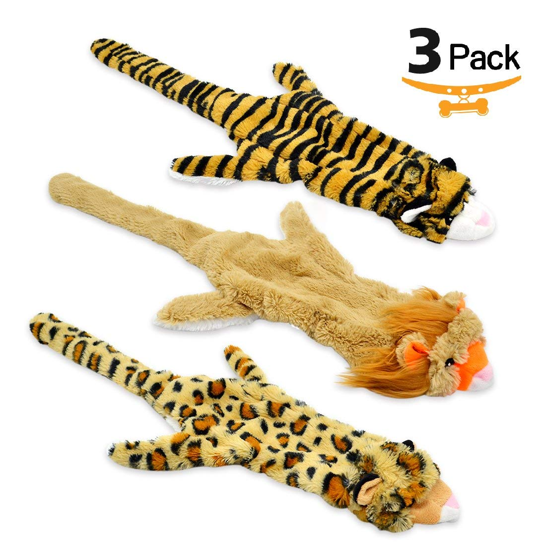 UOLIWO Stuffingless Dog Toys with Squeaker, Durable No Stuffing Dog Squeaky Toys Flat Skinny Lion Tiger Leopard Plush Dog Chew Toys for Small Medium and Large Dogs Set of 3