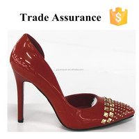 Female wedding shoes red rivet stilletto pumps shoes sexy fashion bridal shoes