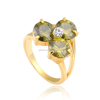 14k gold plated multicolor crystal cz flower ring