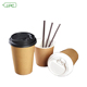 Customized Take Away Kraft Paper Double Wall Coffee Disposable Cup with Plastic Lid