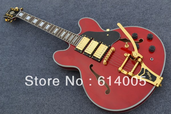 new g custom es 335 red jazz electric guitar f hole hollow body 3 pickup with bigsby solid wood. Black Bedroom Furniture Sets. Home Design Ideas
