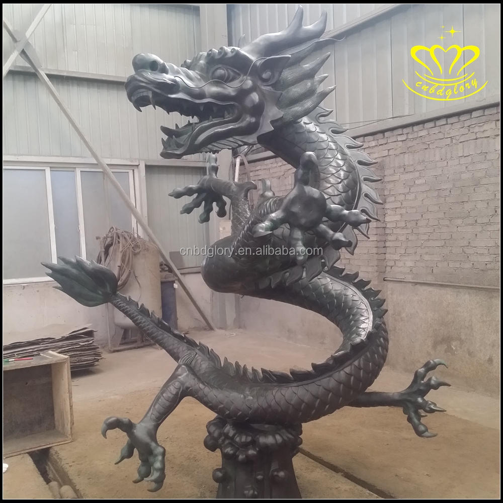 Folk Collect Chinese FengShui Bronze God Animal Dragon Beast Statue Sculpture