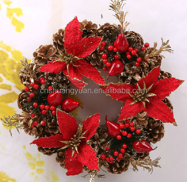 Best Selling indoor deco Xmas wreath ornament,Cheap garland