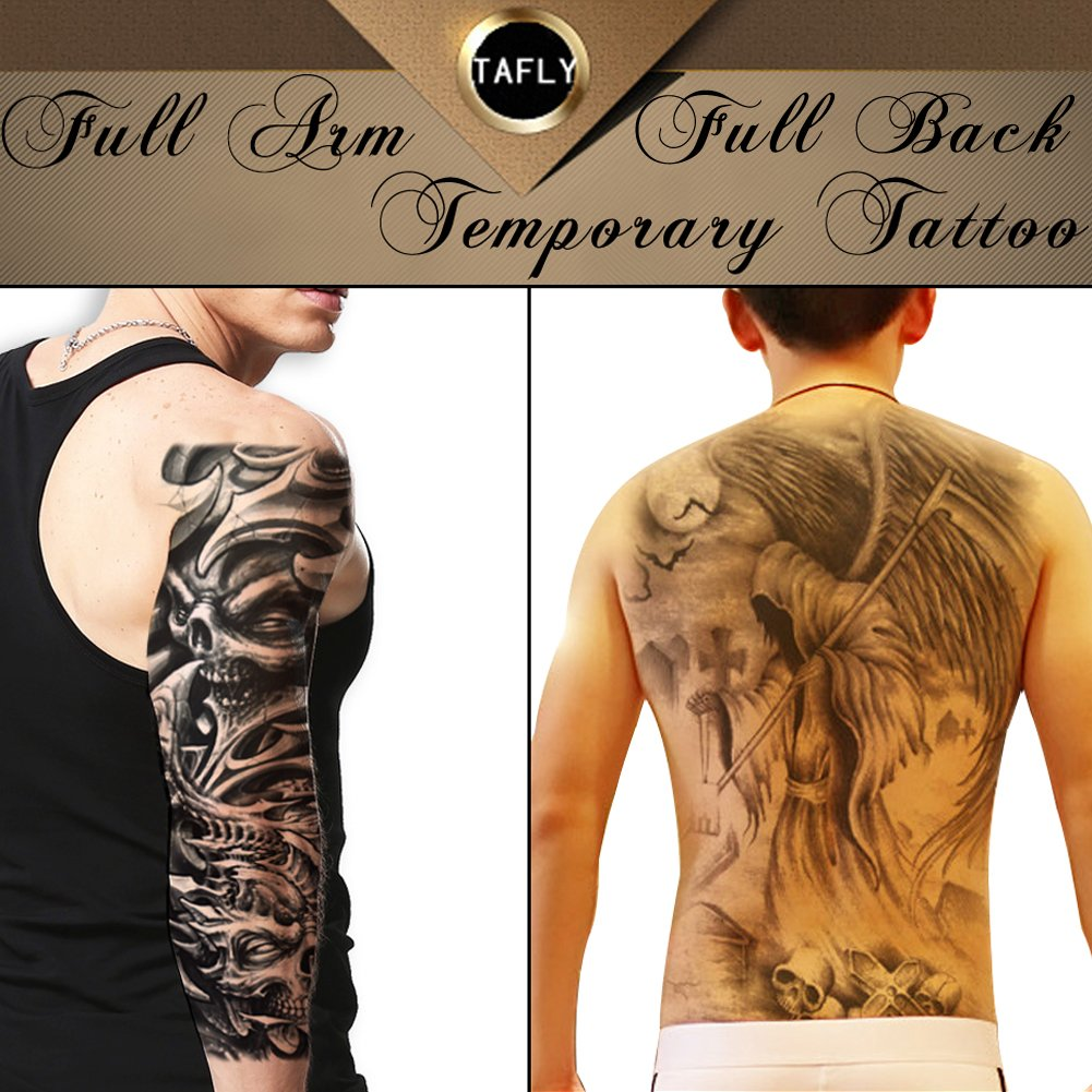 ee8201eae Get Quotations · TAFLY Extra Large Grim Reaper Skull Full Back and Full Arm  Temporary Tattoos Body Art Waterproof