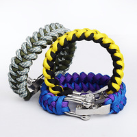 Qusoul survival men paracord bracelet stainless steel