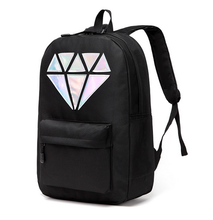 Manufacturer wholesale silver diamond school nylon backpack