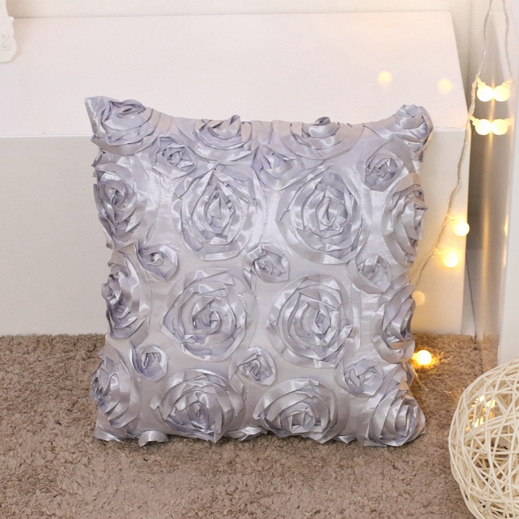 wholesale decorative sofa silk satin rose 3D cushion covers 40*40