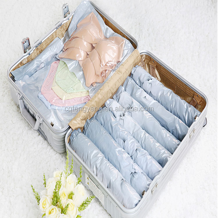 Roll up clothes travel storage bag no vacuum