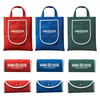 Advertising foldable non-woven tote bag with snap closure