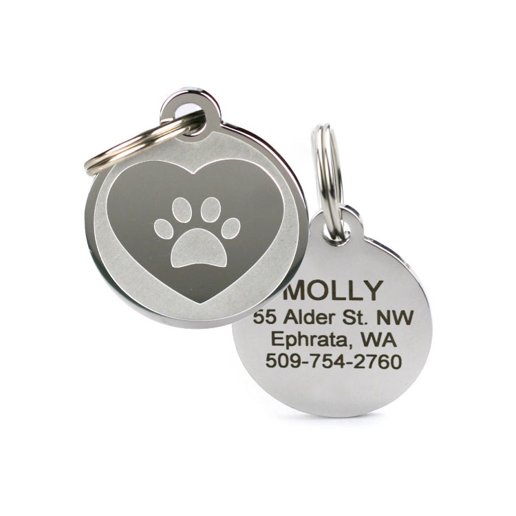 Custom Gepersonaliseerde Rvs Pet Blank Dog Tags met key ring