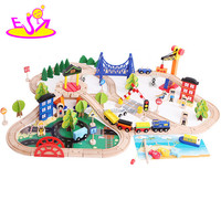 2017 Top fashion funny children activity toys wooden train tracks toys W04C066