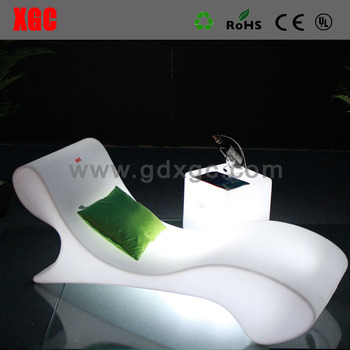 Plastic Stylish PE Vocation Long Lounge Environmental LED Beach Chair High  End Lounge Chairs For Swimming