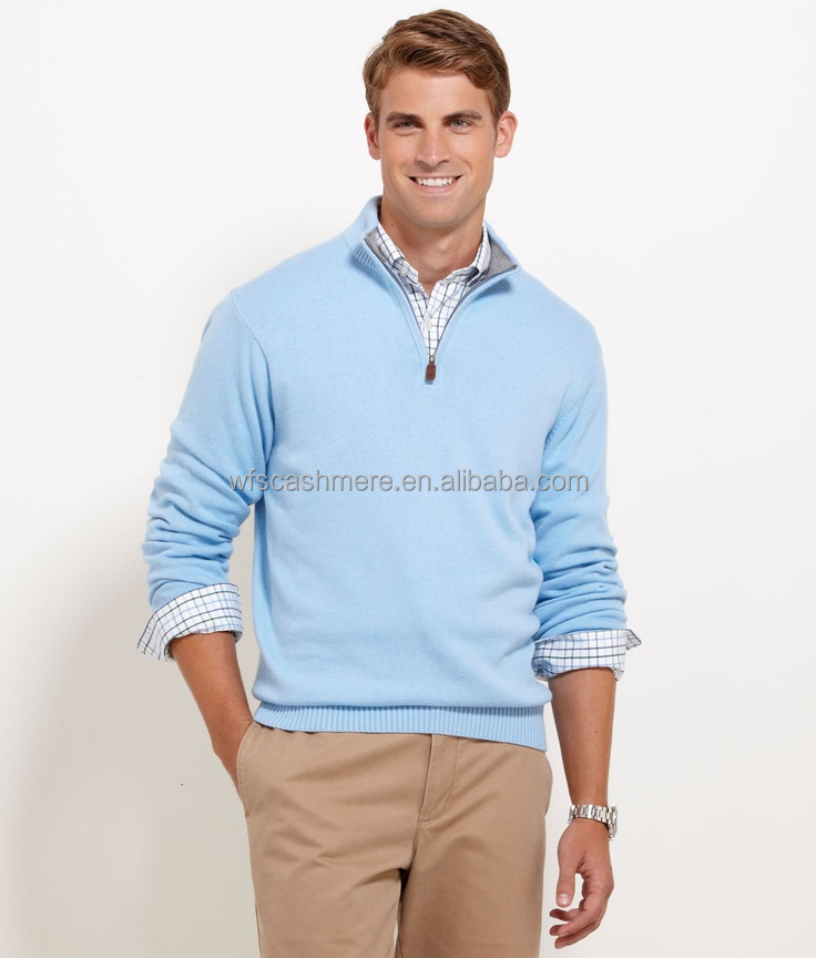 14gg Light Blue Men Cashmere Jumper Sweater With Half-zipper - Buy ...
