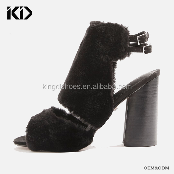 Rounded chunky heel fur sandal for custom furry slingback high heel sandals cheap black fuzzy sandals online