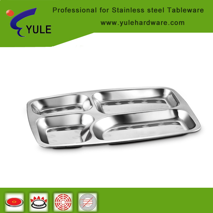Stainless steel square fast food tray of 5 department for school