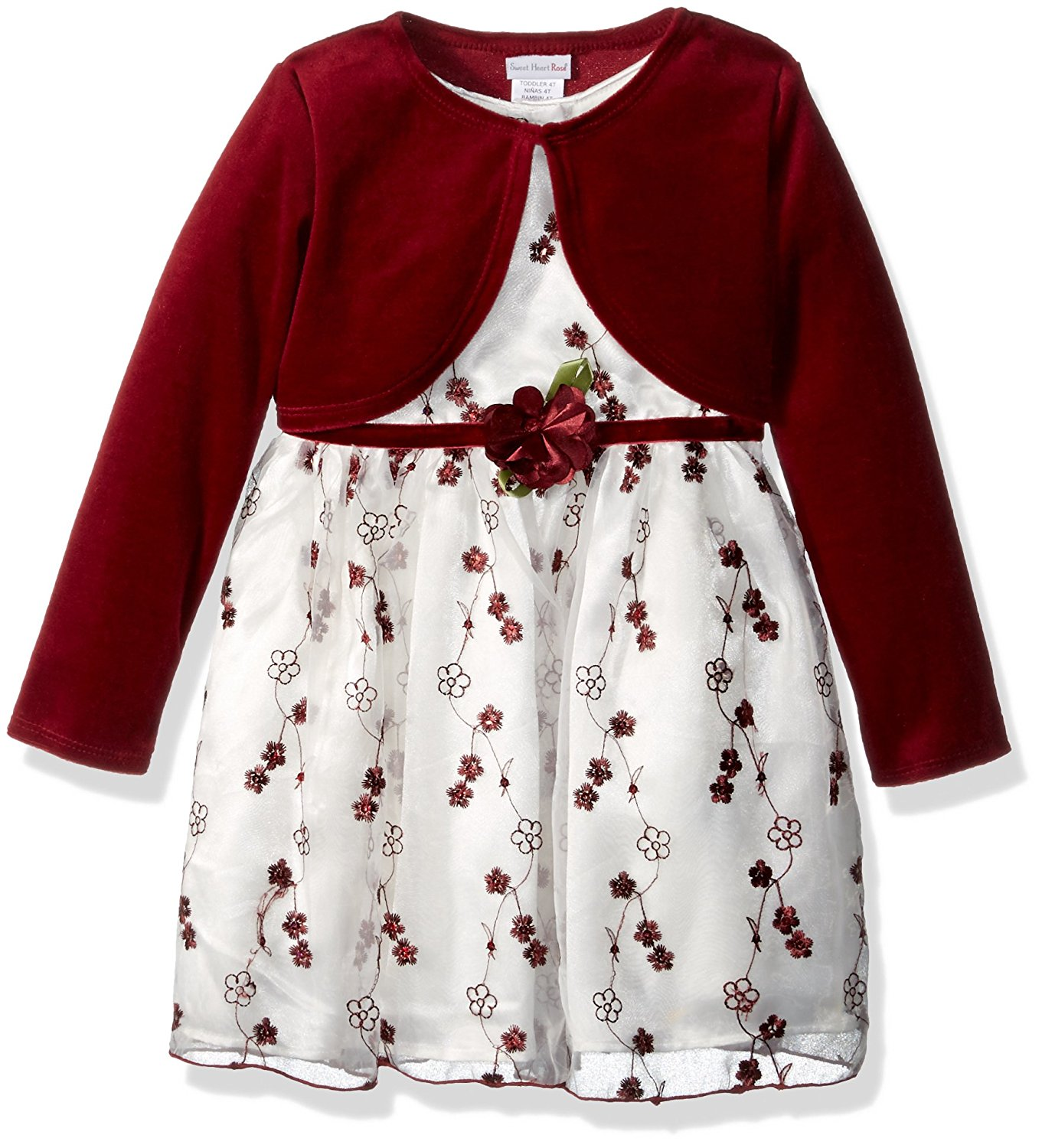 0a16cbaf6ba Get Quotations · Sweet Heart Rose Toddler Girls  2 Pc Embroidered Organza  Dress With Knit Cardigan