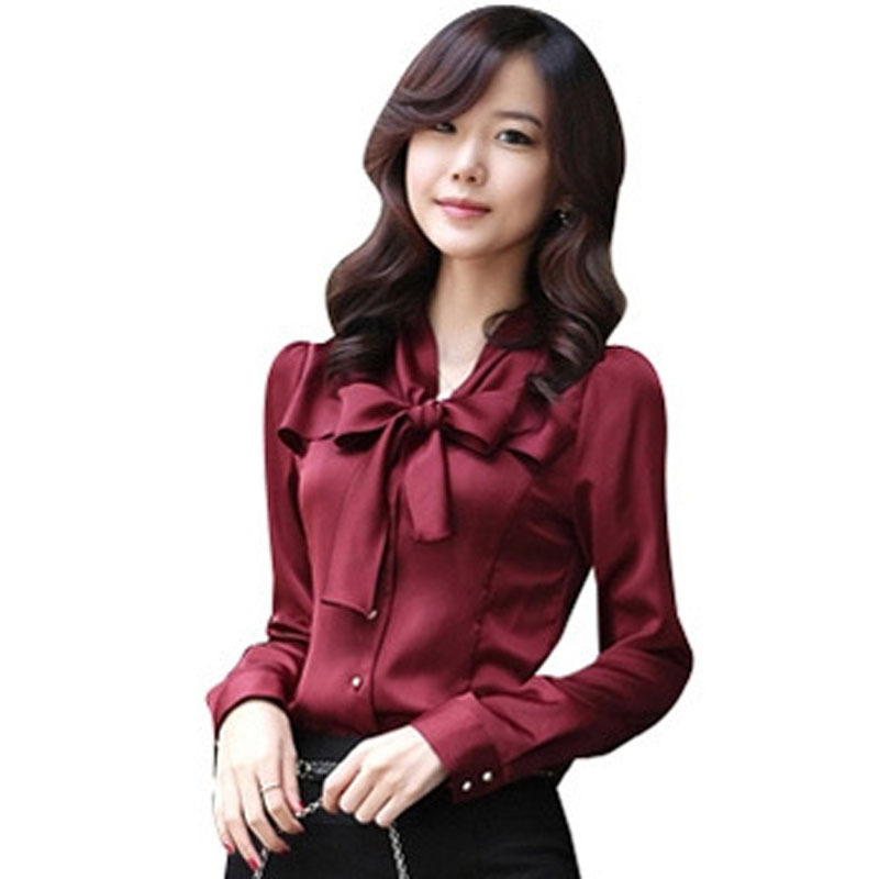 a5bb260578 Buy Korean Career Lady Formal Chiffon Shirts Plus Size S-3XL ...