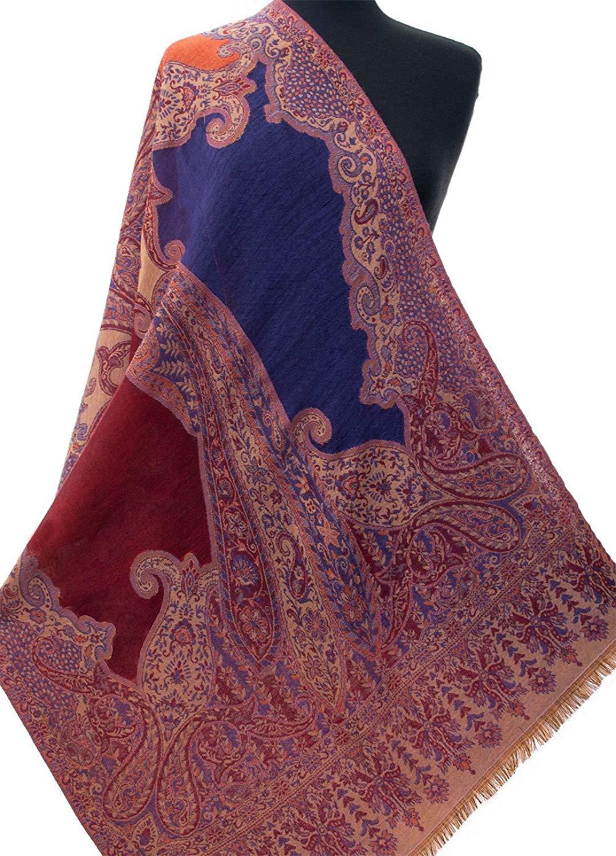 Rose /& Violet Silk Indian Shawl Reversible Jamavar Shawl Jamawar Stole Pashmina