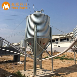 China manufacture galvanized Pig feeding system Galvanized steel 10 ton silo for feed