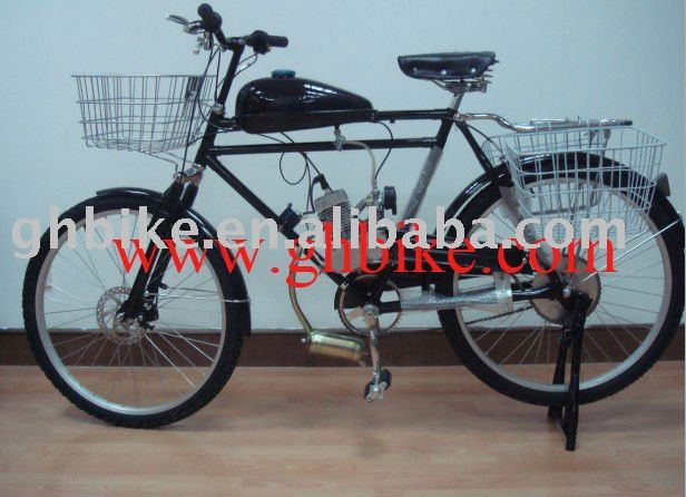 "26"" steel 50cc engine moto gas beach cruiser bike"