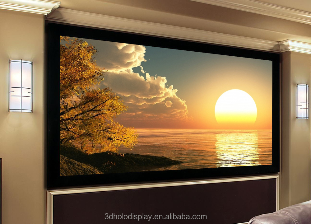 acoustic fixed frame projector projection screen with black aluminum housing