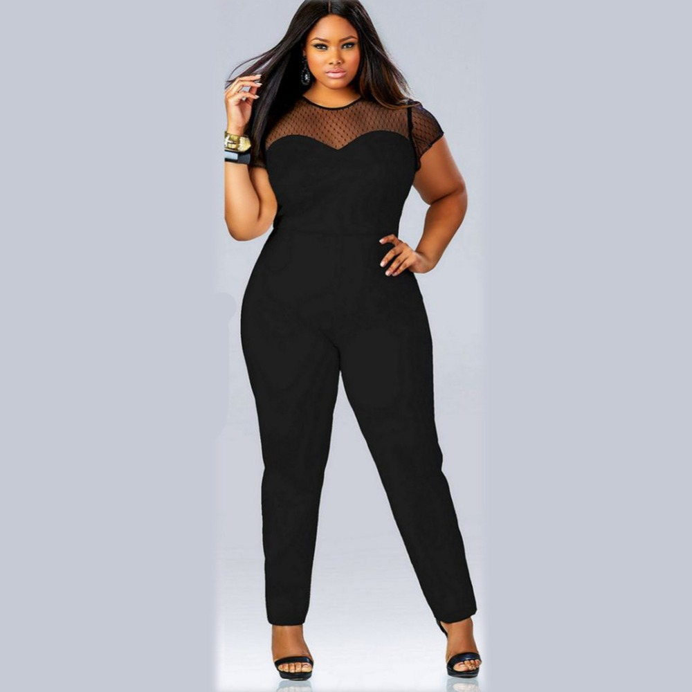 b0e8ab068c2ef F20425A High quality jumpsuits for women 2016 lace stitching plus size  women clothing fat womens jumpsuits for fat women 2016
