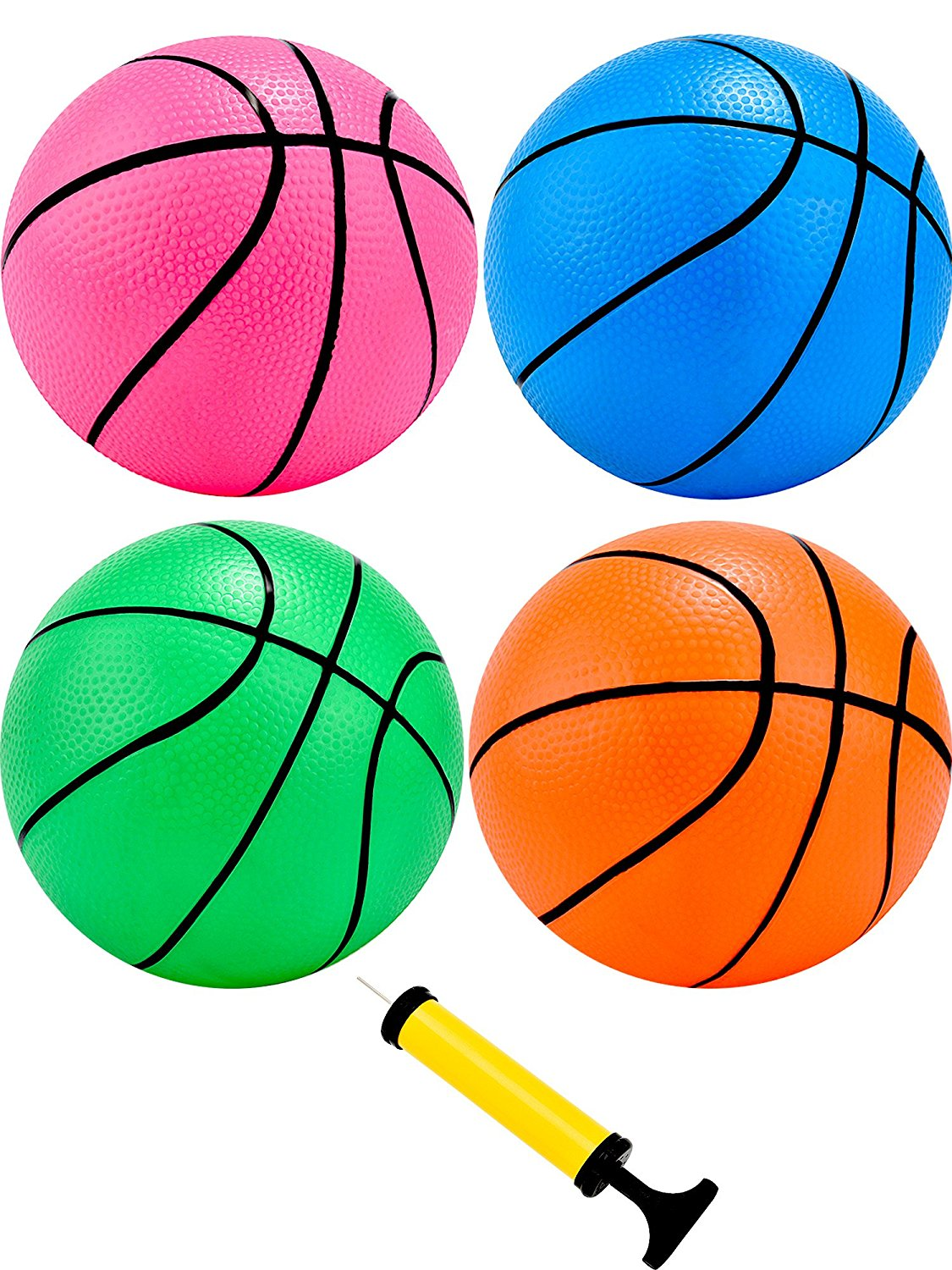 Tecunite 4 Pieces 5 Inch Mini Basketball Inflation Mini Ball Toys with Pump and Basketball Needles for Kids, 4 Colors