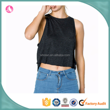 Wholesale women muscle sports loose fit relaxed crop tank tops for women