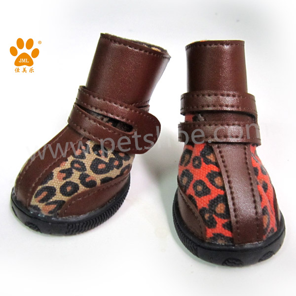 JML leopard fabric dog pe snow boots with rubber sole best sell puppies dog shoes boots