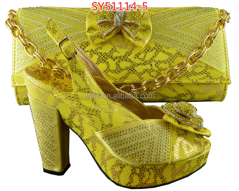 and and matching shoes yellow wholesale SY51114 5 shoe bag set italian bag 4gxzzwaqt