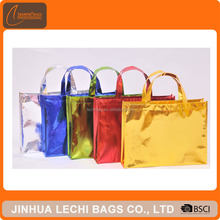 Colorful OEM Factory Women Laser Film Laminated Non Woven Shopping Carry Promotional Tote Bag